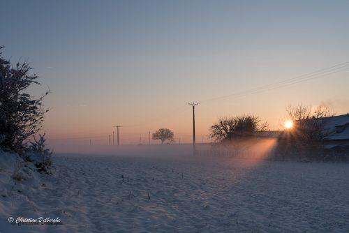 Fossé sous la neige